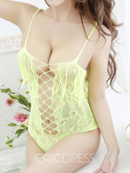 Ericdress Bodysuit Lace Cross Hollow Sexy Women Teddy Bodysuit