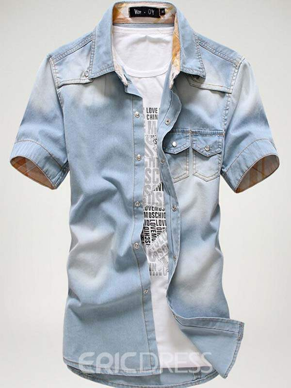 Ericdress Lapel Short Sleeve Casual Men's Denim Shirt