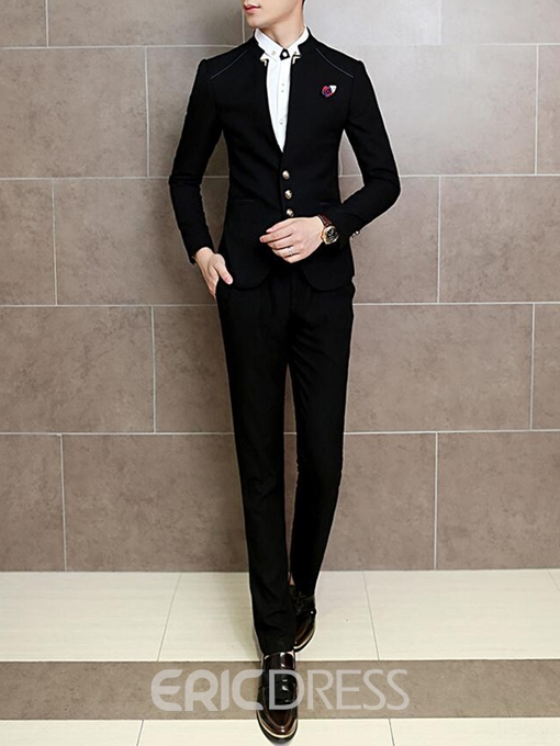 Ericdress Plain Stand Collar Vogue Slim Men's Suit