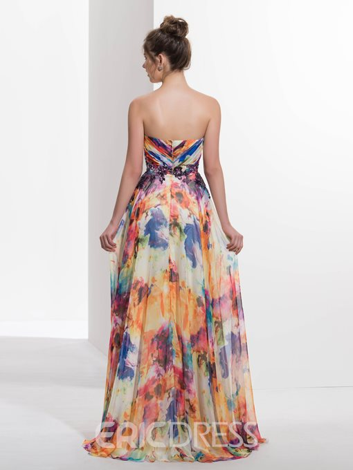 Ericdress A-Line Sweetheart Pleats Printed Sequins Prom Dress