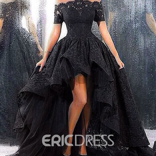 Ericdress Off-The-Shoulder Ruffles High Low Evening Dresses
