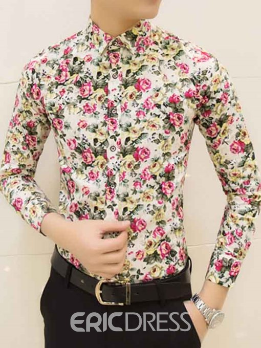 Ericdress Floral Print Slim Men's Shirt