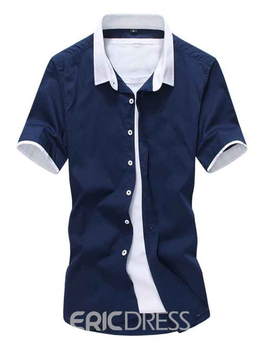 Ericdress Simple Casual Short Sleeve Slim Men's Shirt