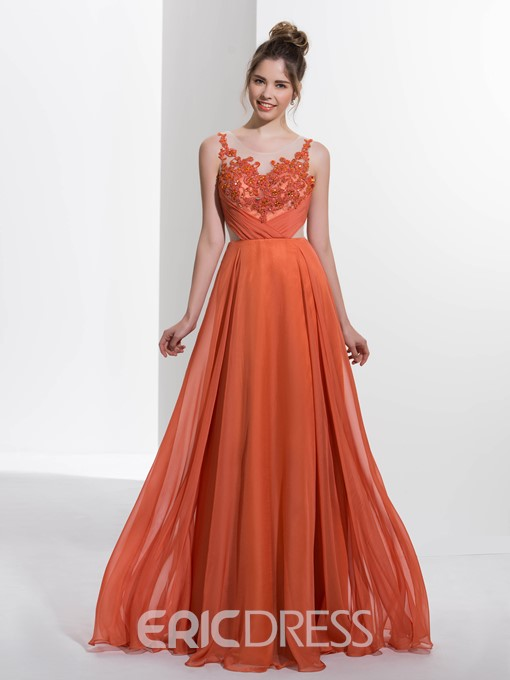 Ericdress A-Line Scoop Appliques Beading Pleats Long Prom Dress