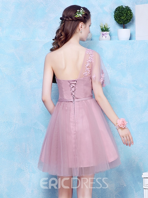 Ericdress A-Line One-Shoulder Short Sleeves Appliques Bowknot Sashes Homecoming Dress