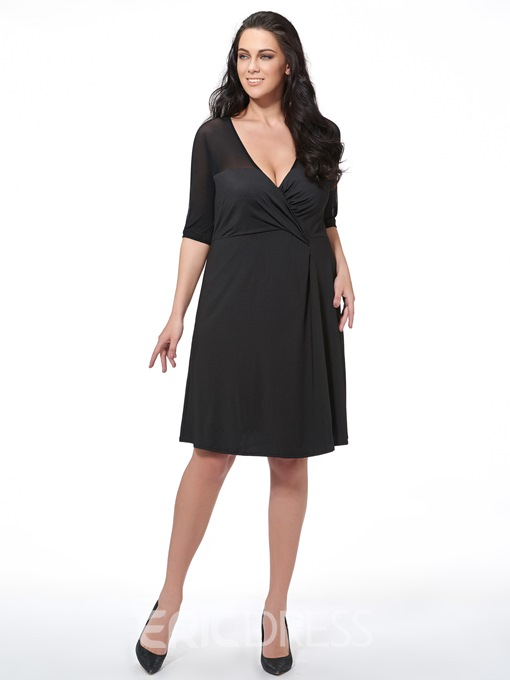 Ericdress Plus Size Sexy V-Neck Pleated See-Through Patchwork Casual Dress