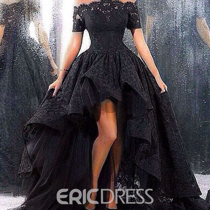 Ericdress Off the Shoulder Short Sleeve High Low Lace Evening Dress