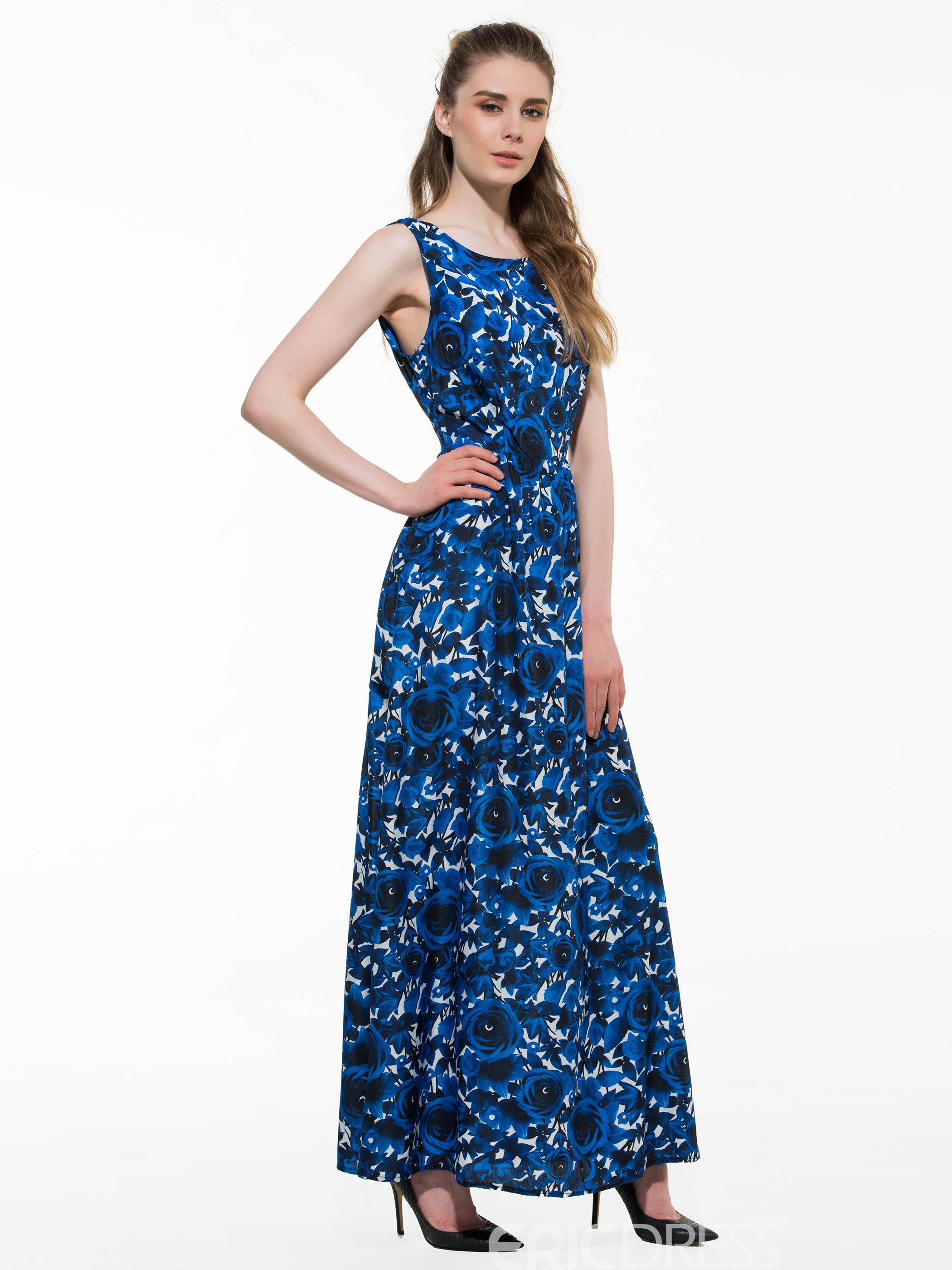 Ericdress Prom Print Sleeveness Floor-Length Maxi Dress