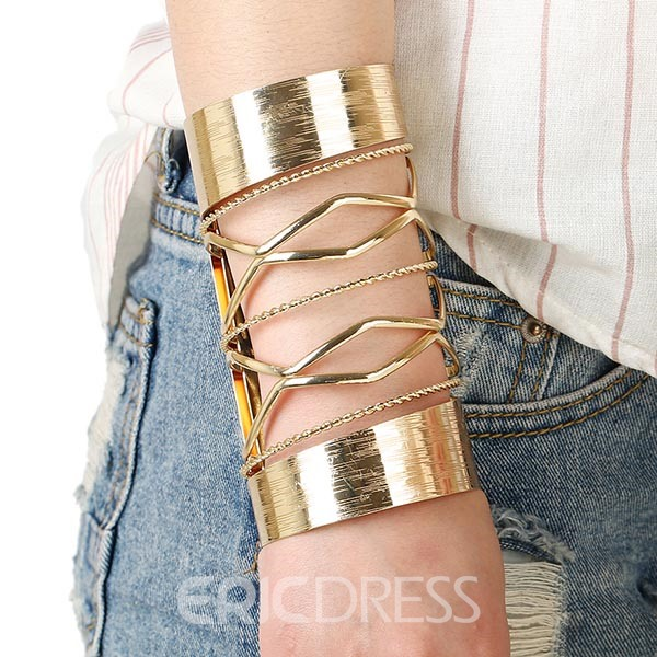 Hollowed Out Long Alloy Bracelet