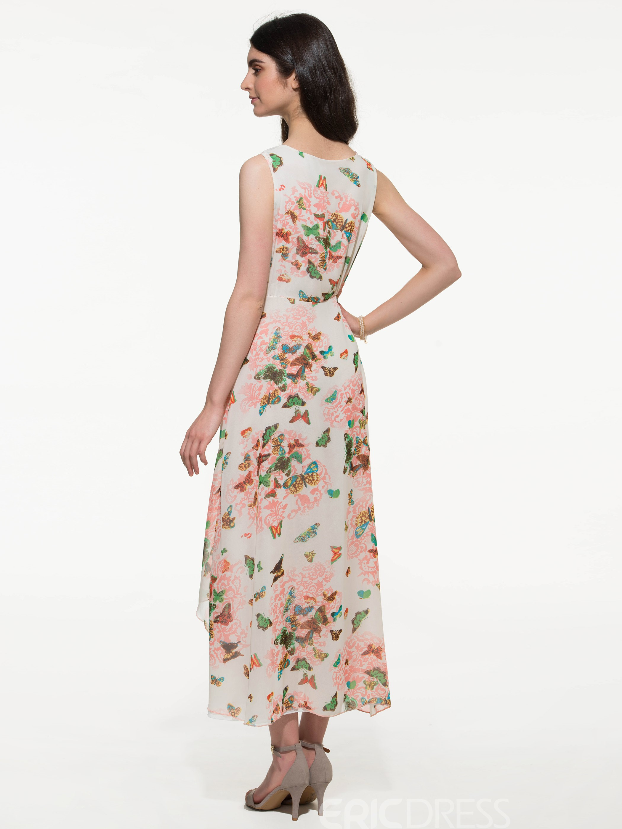 Ericdress White Floral Print Double Layer Sleeveless Maxi Dress