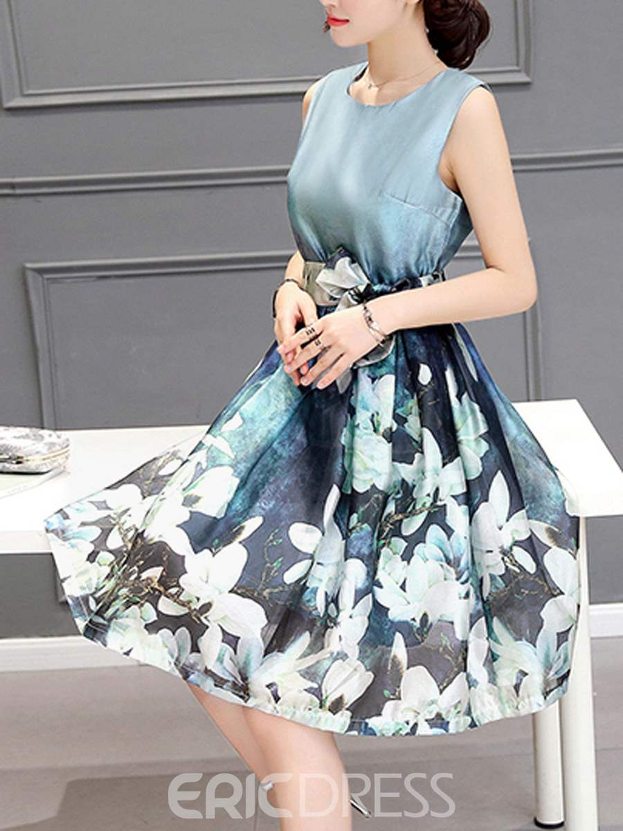 Ericdress Flower Print Patchwork Lace-Up Casual Dress
