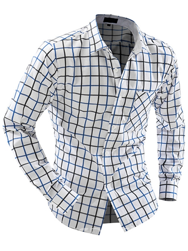 Ericdress Simple Grid Slim Men's Shirt