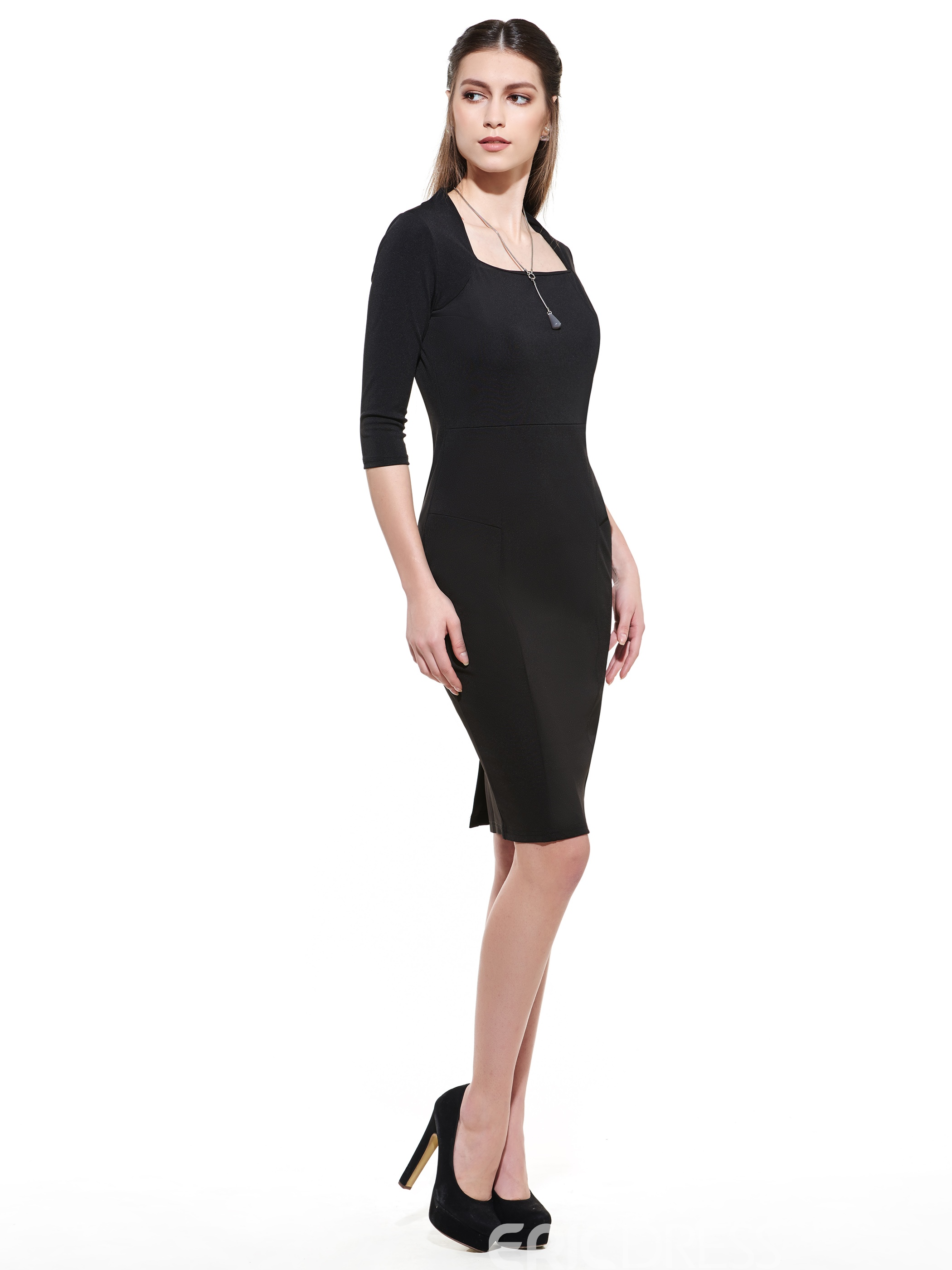 Ericdress Square Neck Platinum Plated Knee-Length Little Black Dress