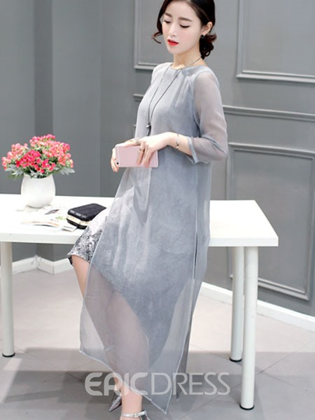 Ericdress Round Neck A-Line Double-Layer Casual Dress