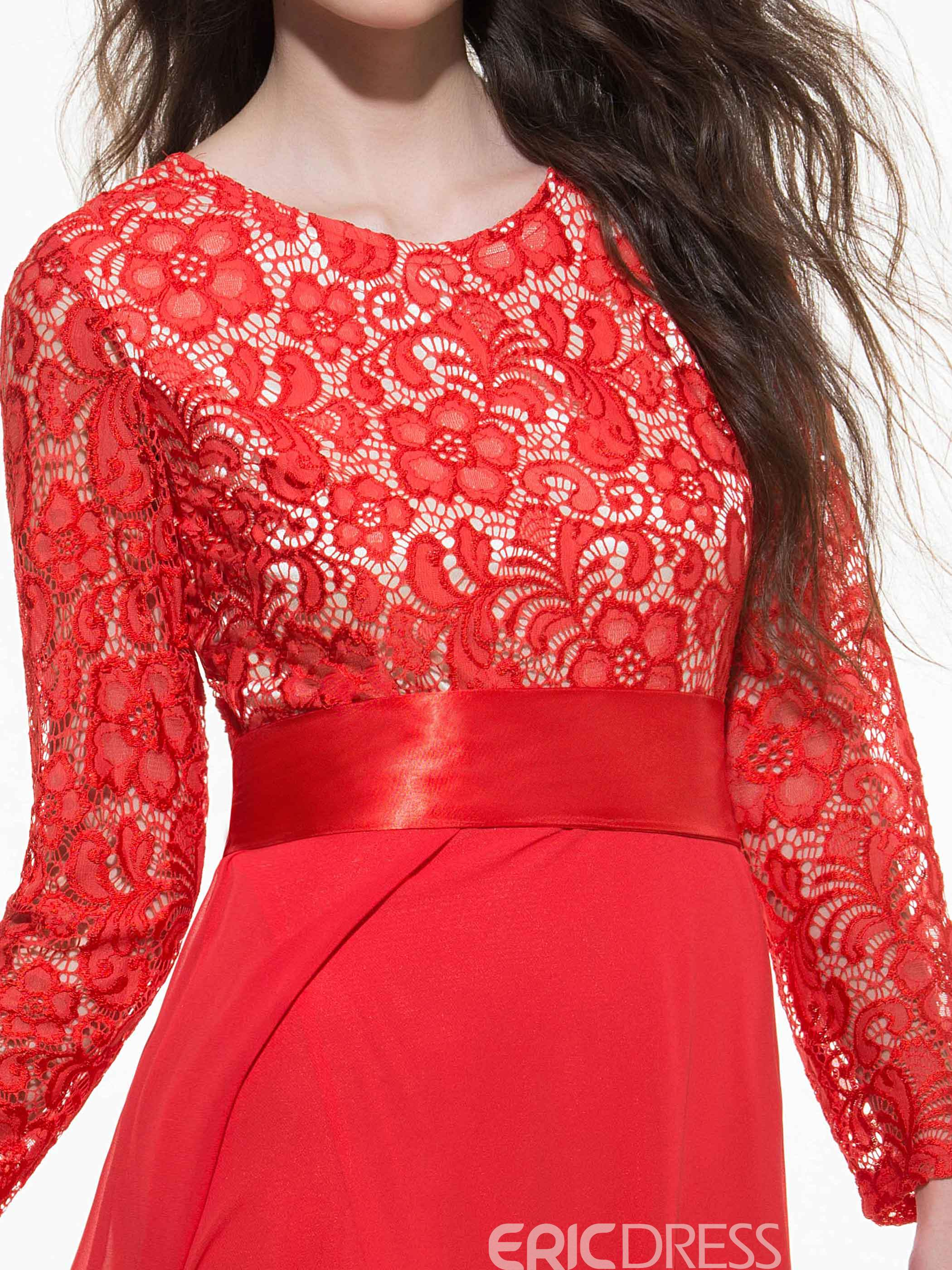 Ericdress Lace Patchwork Bowknot Lace-Up Expansion Maxi Dress