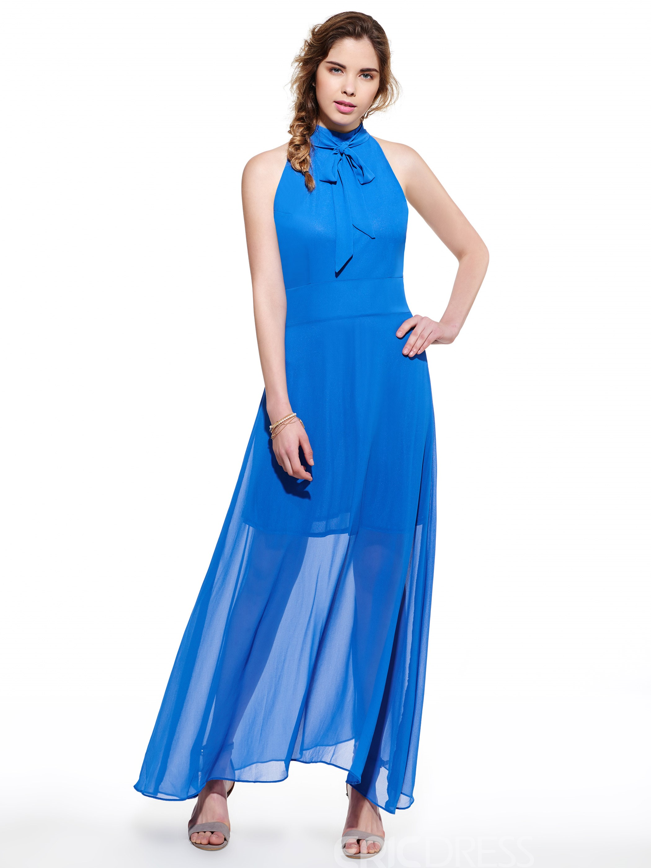 Ericdress Solid Color Bowknot Sleeveless Maxi Dress