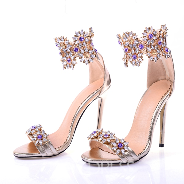 Ericdress Glittering Rhinestone Open Toe Stiletto Sandals