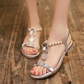 Ericdress Pearl & strass T Strap sandales plates