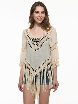 Ericdress Tassel V-Neck Blouse