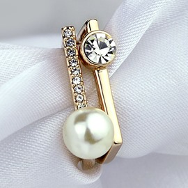 Austrian Crystal Pearl Ring