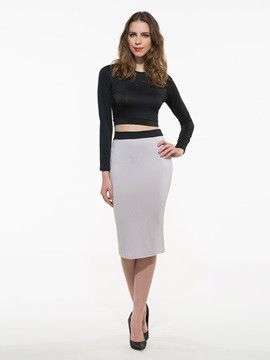 Ericdress Solid Color Bodycon Skirt Suit