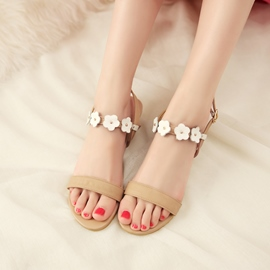 Ericdress Slingback Strap Appliques Open Toe Flat Sandals