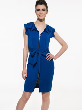 Ericdress Plain Falbala Zipper Bowknot Sheath Dress