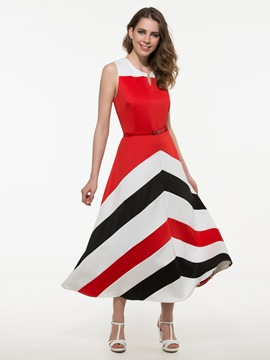 Ericdress Color Block Geometric Print Plus Size Maxi Dress