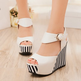 Ericdress Popular Contrast Color Peep Toe Wedge Sandals