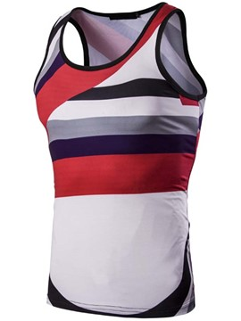 Ericdress Color Block Stripe Sleeveless Vogue Men's Vest