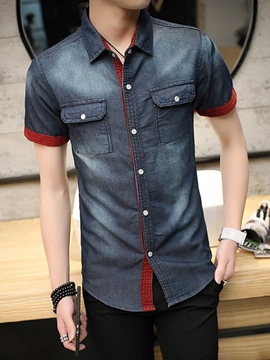 Ericdress Slim Fit Denim Casual Men's Shirt