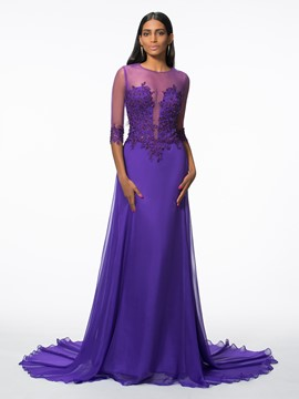 Ericdress A-Line 3/4 Sleeves Appliques Beading Evening Dress With Court Train