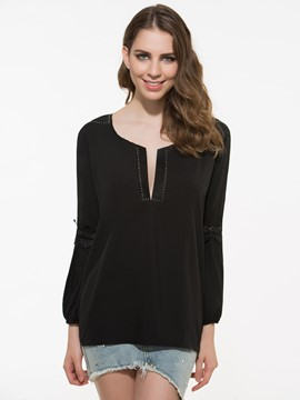 Ericdress Sexy Lattern Sleeve Blouse