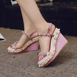 Ericdress Roman Beads Open Toe Wedge Sandals