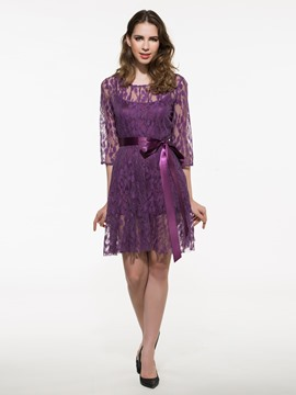 Ericdress Plain Hollow Lace Dress