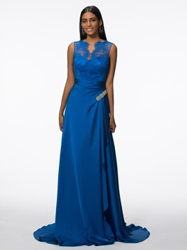 Ericdress A-Line V-Neck Beading Draped Lace Sweep Train Evening Dress