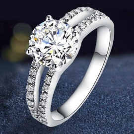 925 Sterling Silver Simulation 2 Carat Diamond Ring