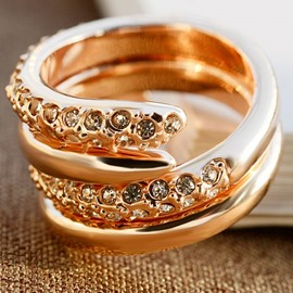 Ericdress Concise Rose Gold Waltz Alloy Diamante Women's Ring