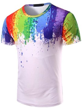 Ericdress Short Sleeve Paint Pattern Casual Men's T-Shirt
