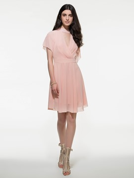 Ericdress Solid Color Hollow Expansion Casual Dress