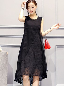 Ericdress Solid Color Patchwork A-Line Casual Dress