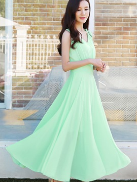 Ericdress Soild Color Expansion Ankle-Length Maxi Dress