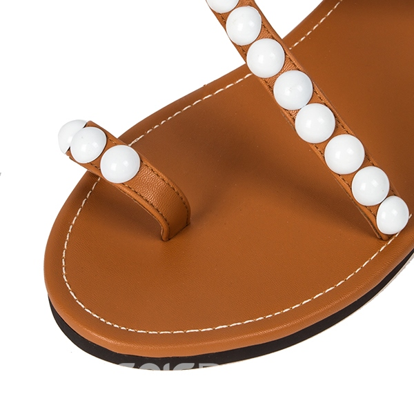 Ericdress Exquisite Pearls Beading Flat Sandals