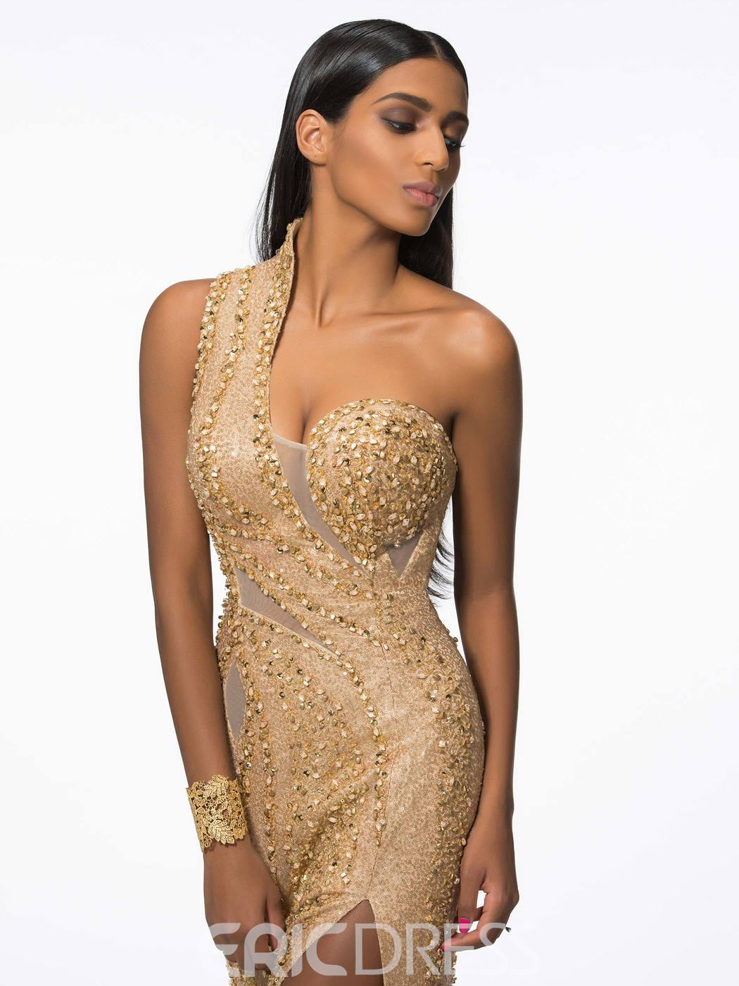 Ericdress Sheath One-Shoulder Beaded Sequins Split-Front Court Train Evening Dress