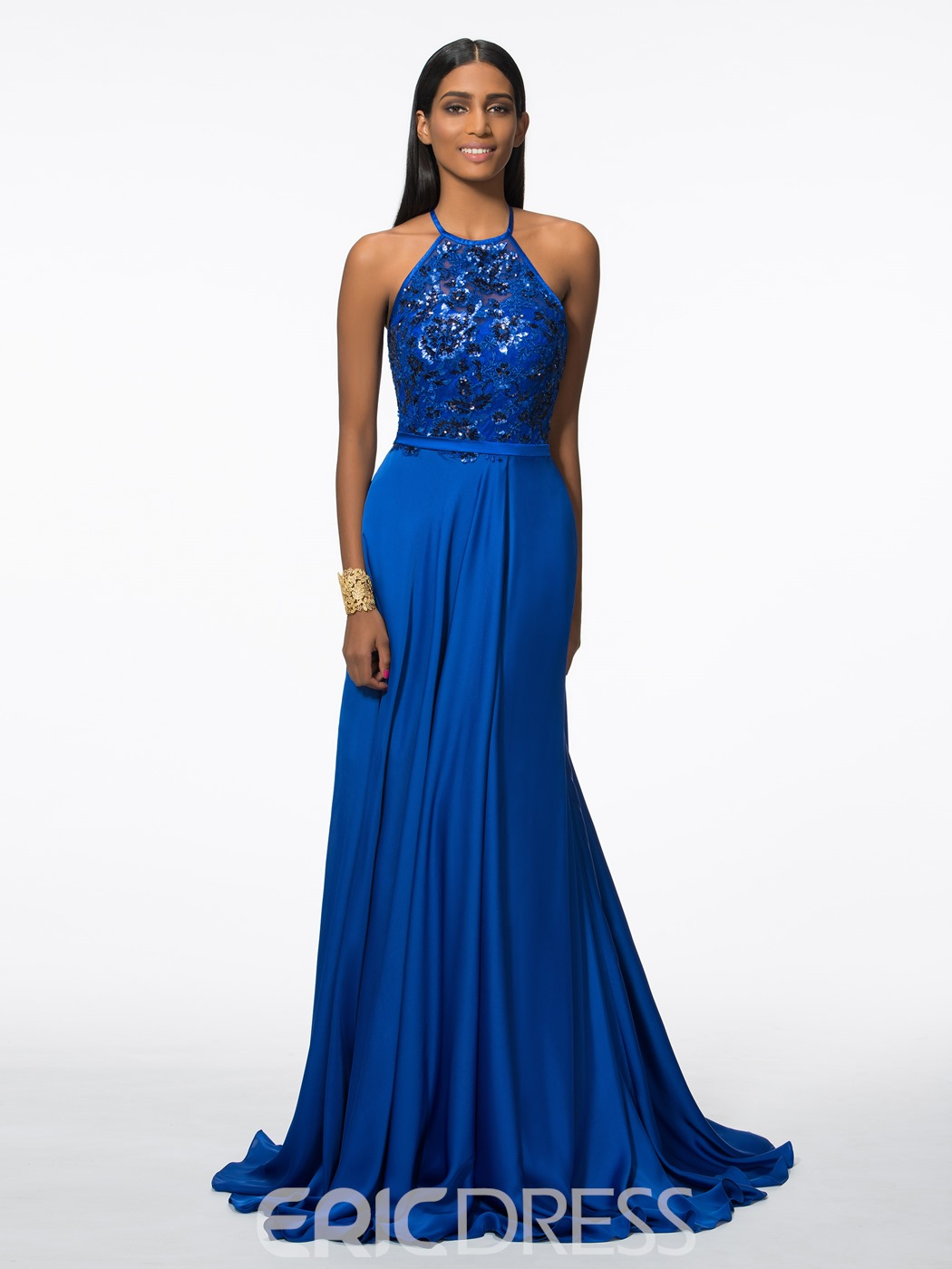 Ericdress Halter A-Line Sequins Evening Dress With Split-Front