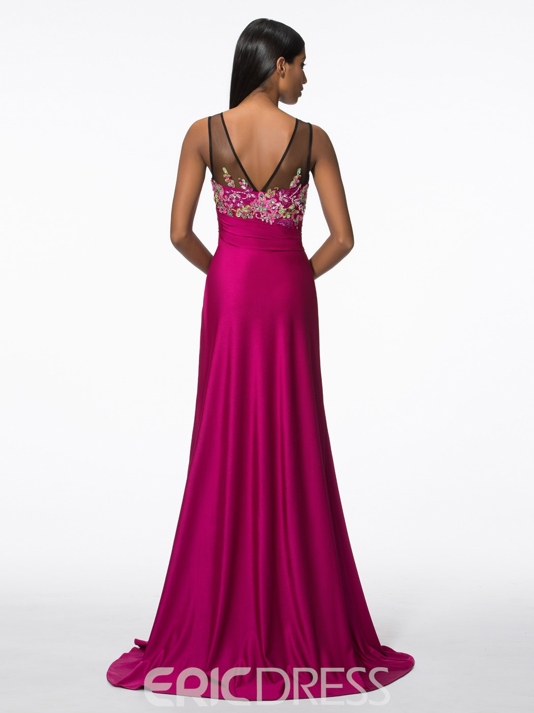 Ericdress Scoop Neck Appliques Beading Long Evening Dress