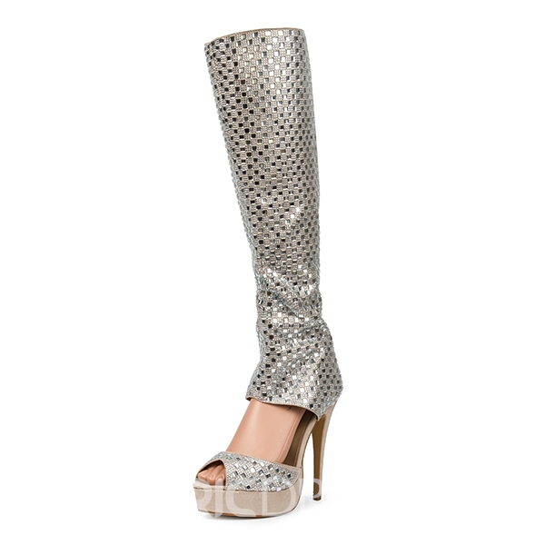 Ericdress Glittering Rhinestone Knee High Stiletto Sandals