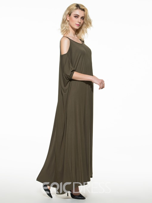 Ericdress Spaghetti Strap Cold Shoulder Plain Maxi Dress