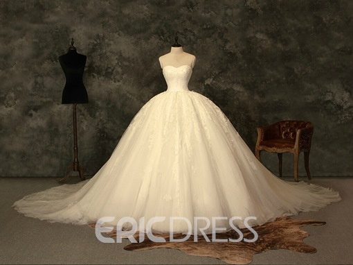 Ericdress Sweetheart Lace Ball Gown Vintage Wedding Dress
