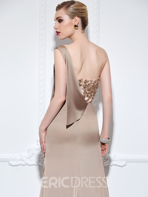 Ericdress A-Line One-Shoulder Appliques Beading Court Train Evening Dress